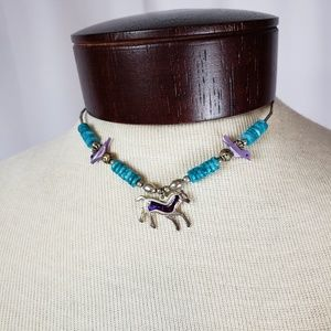 Jewelry - Native Wild Horse Sterling Silver Turquoise Choker
